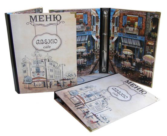 Папки для меню кожаные, кожзам, ткань, изготовление папок меню Киев