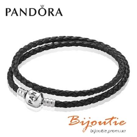 Оригинал Кожаный черный браслет Pandora №590705CBK-D серебро 925