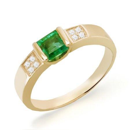 Золотое кольцо с изумрудом и бриллиантами 0,06 карат 16,5 мм  5 460 ... 1b37b103390
