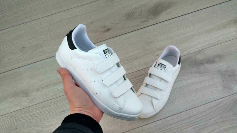 104195a14baf Топ! женские кроссовки кеды Adidas Stan Smith на липучках белые