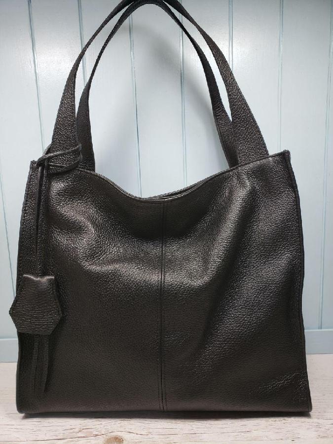 8bc52c30c3d3 Купити зараз - Женская кожаная сумка итальянская шопер черная серая ...