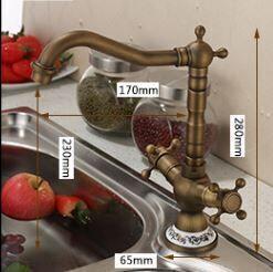 Смеситель кухонный двухвентильный бронза 0076