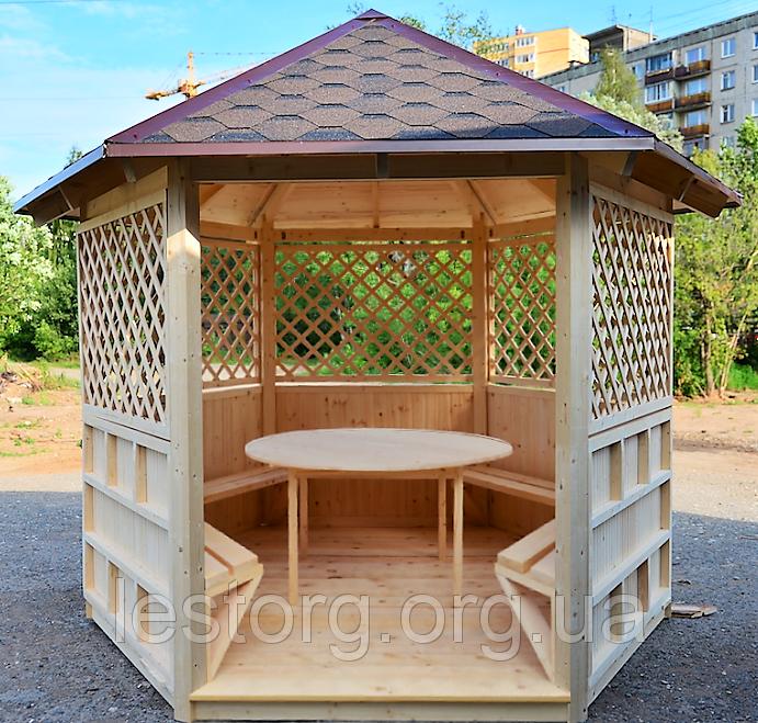 Беседка шестигранная деревянная 5,8 м2