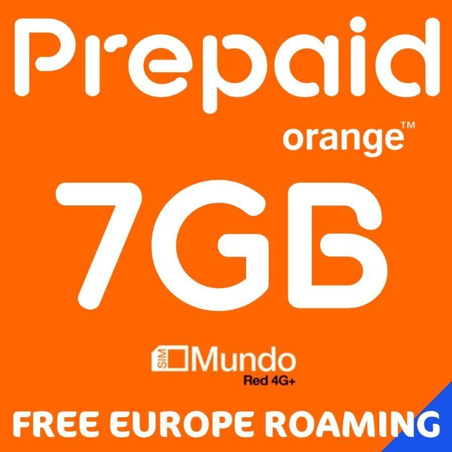 Интернета в Европе. Orange Mundo Plus 7GB 4G. Free Europe Roaming