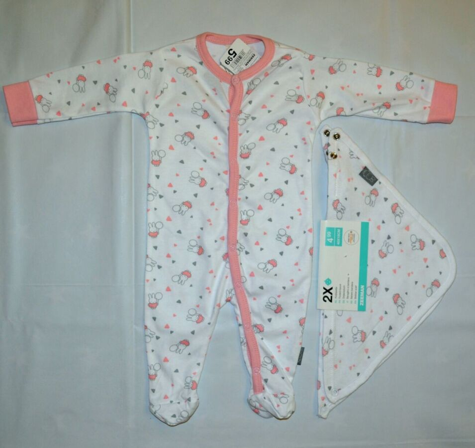 Человечек для новорожденной 50 размер 0-1 месяц Zeeman нидерланды слип