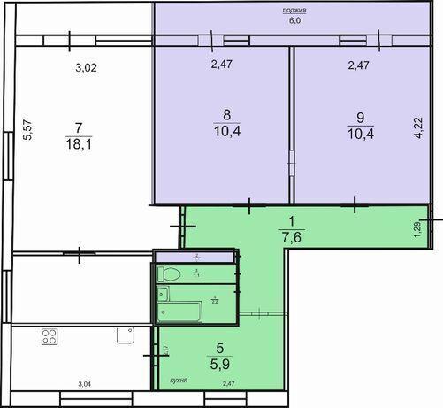 продам 1 или 2 комнаты в четырёх комнатной квартире на 2-м этаже.