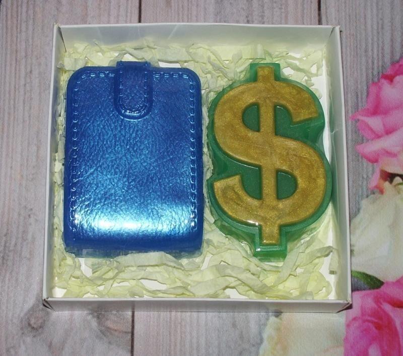 Сувенирное мыло: набор кошелек и доллар