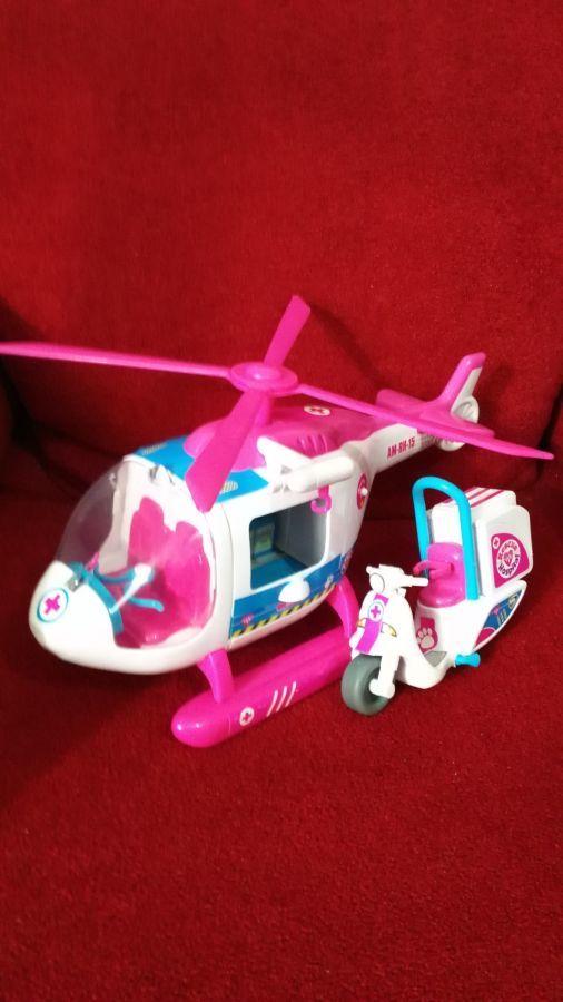 Вертолет с електро лебедкой и мотоциклом из Англии