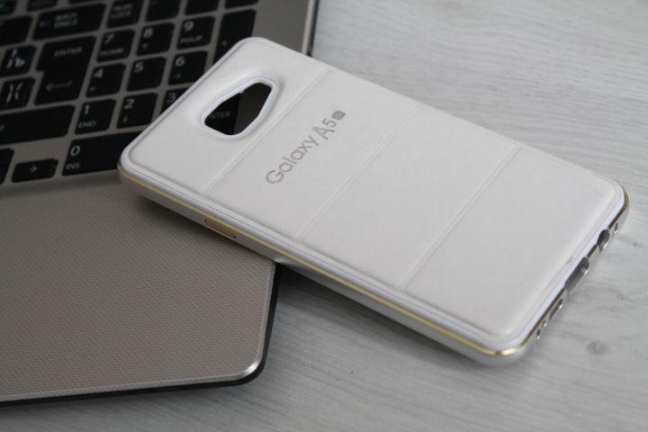 Samsung Galaxy A (A510 - 2016г.в.) Бампер чехол алюминий + кожа кейс