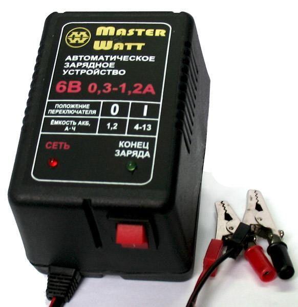 Зарядное устройство авт. Master Watt 0,3-1,2А 6В для мото акум.