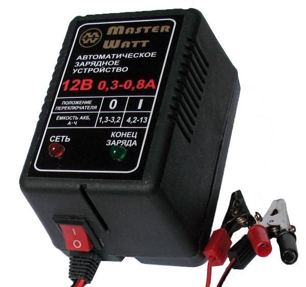 Зарядное устройство авт. Master Watt 0,3-0,8А 12В для мото акум.