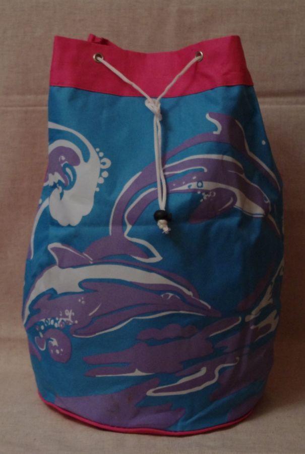 Рюкзак Новый Вместительный Бирюзово-Розового Цвета В Принт Дельфины
