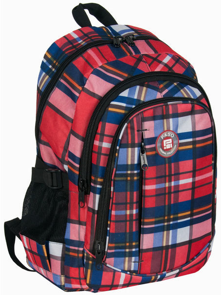Молодежный яркий рюкзак в клетку PASO 25L 16-1827B красный