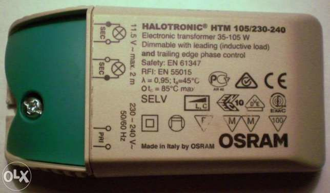 Электронный трансформатор для галогенных ламп OSRAM HTM 105/230-240