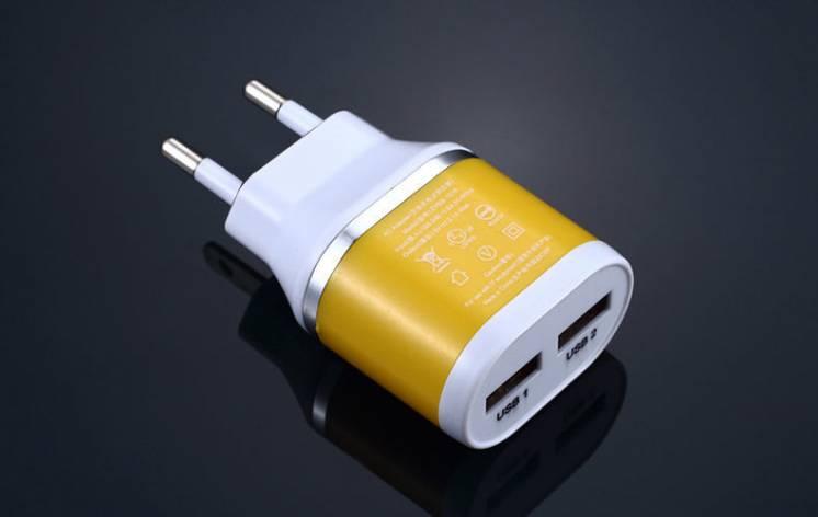 Зарядное, зарядка USB 2 порта 2 ампера, мощный адаптер блок питания
