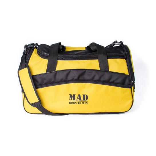 Спортивная сумка каркасной формы TWIST желтая от MAD  born to win