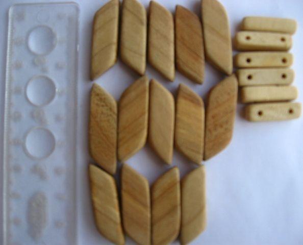 бусины деревянные, прямоугольные, тополь, на браслет, 20 шт