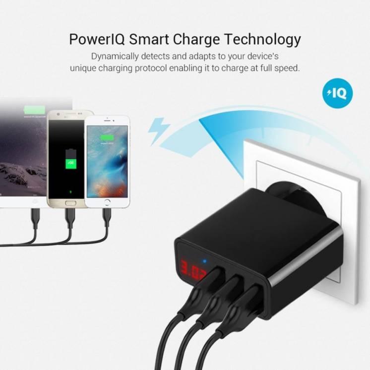 3-портовый USB 5V 3A зарядное устройство с цифровым дисплеем V \ A