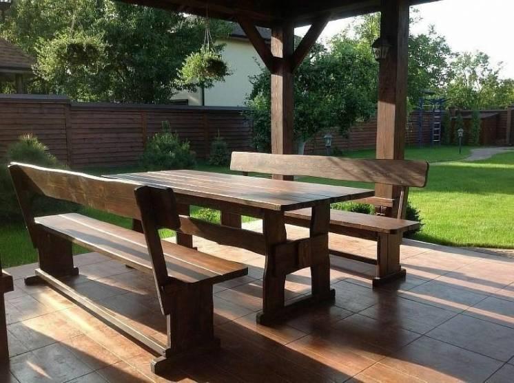 Деревянная садовая мебель. Садовая мебель. Мебель на дачу.