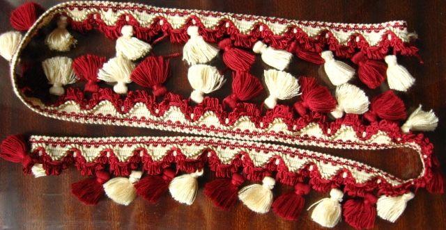 тесьма на кисточки красные бордовые 1 м