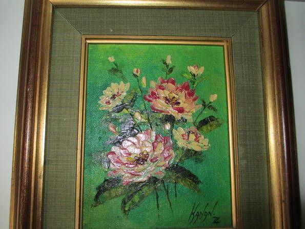 Картина Букет Цветов 1974 г. Италия. авторская работа. масло. рама.