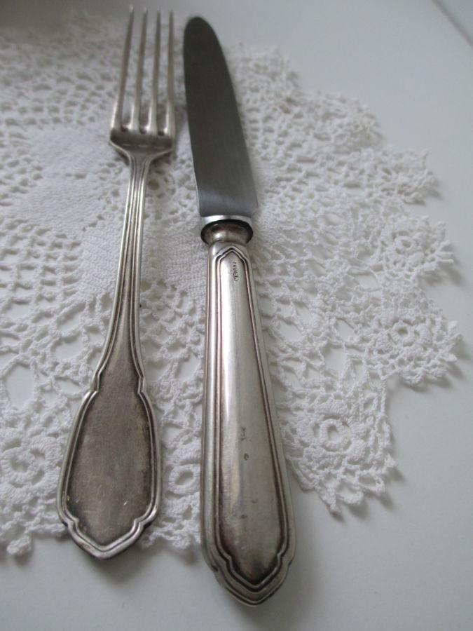 Серебряная вилка и нож. набор эгоист. италия. вес -66 гр. клейма.