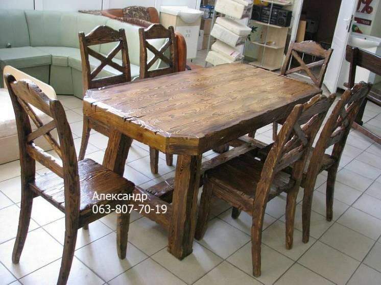 Комплект охотничий №4 (стол, стулья ) в сад, для бани, в дом