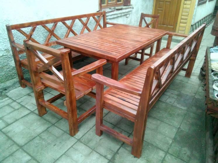 Деревянный, садовый комплект прованс №2 (стол кресло лавки )