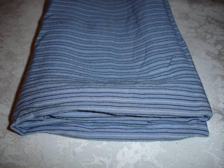 Отрез ткани/відріз тканини х/б синьо-сірої у вертик. смужку 70х220 см