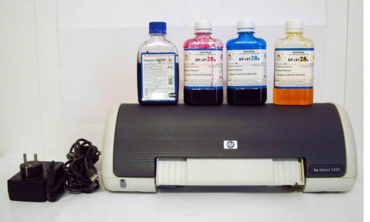 Принтер HP DeskJet 3420 (струйный, цветной) + чернила для картриджей