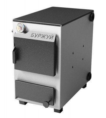 Котел твердотопливный Буржуй КП-10 кВт с чугунной плитой и дымоходом