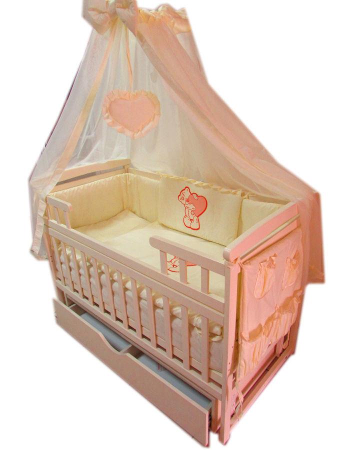 Акция! Новый набор Люкс2. Кроватка, ящик, матрас кокос, постель 10 эл