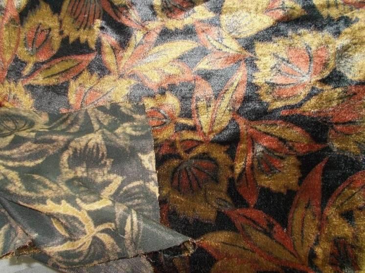Ткань плюш цветной  с рисунком Золотая осень   для поделок, рукоделия