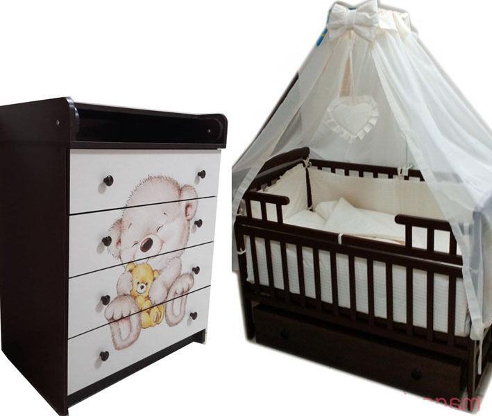 Акция! Комплект новый! Кровать,комод, матрас, постельный набор!