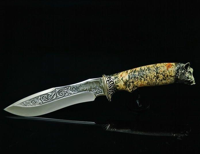 Ножи ручной работы украинского мастера из дамасской стали 95х18 40х13