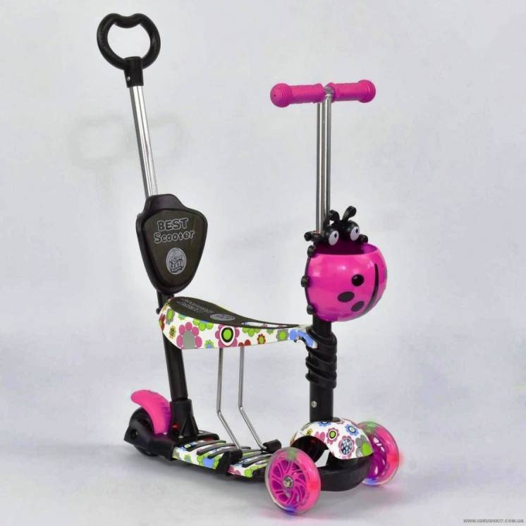 Самокат 5в1 Best Scooter три расцветки родительская ручка, колеса свет