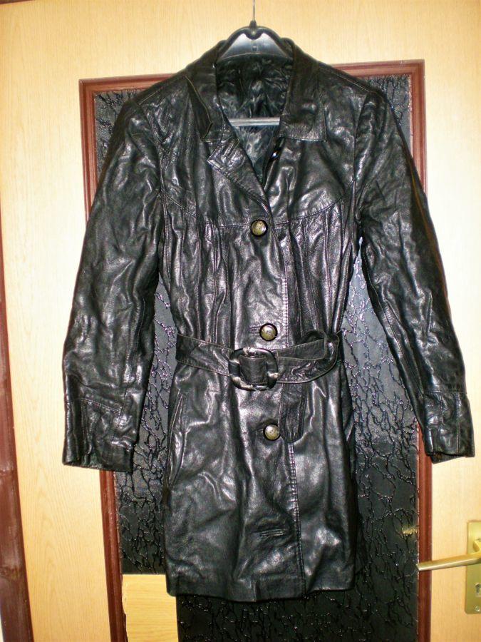 Плащ - куртка удлинённая ,кожаная.Германия.Женская