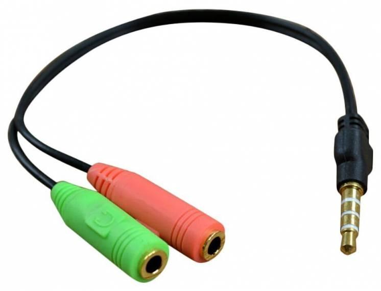 Сплиттер адаптер переходник для микрофона и наушников 3.5 мм