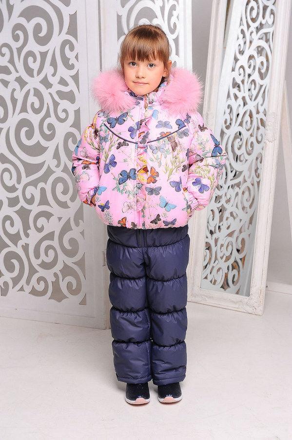 Зимний комбинезон двойка розовый с бабочки с натуральным мехом