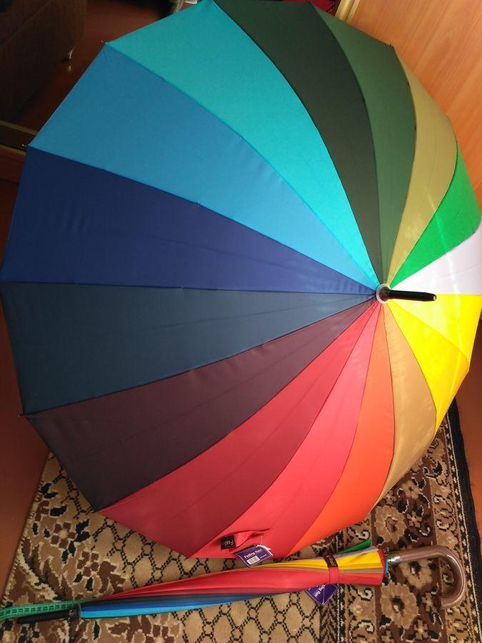 Зонт трость радуга 16спиц металл.