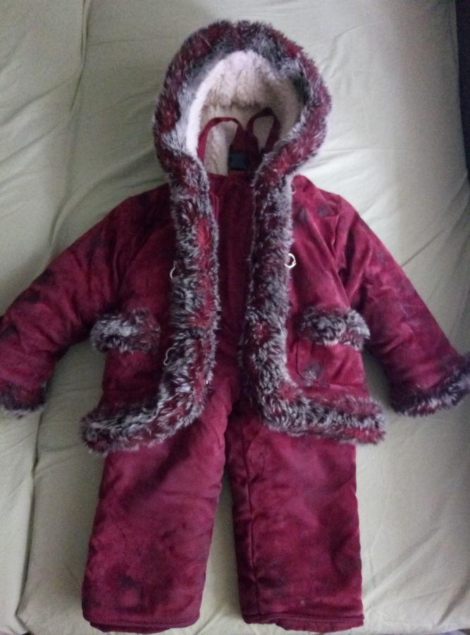 Комбинезон для девочки зимний (куртка+штаны),овчина. На возраст 2-3.5