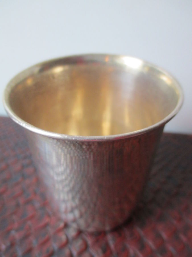 Серебряная Стопка (на 100 грамм). Италия. Серебро- Позолота. h- 6 см.