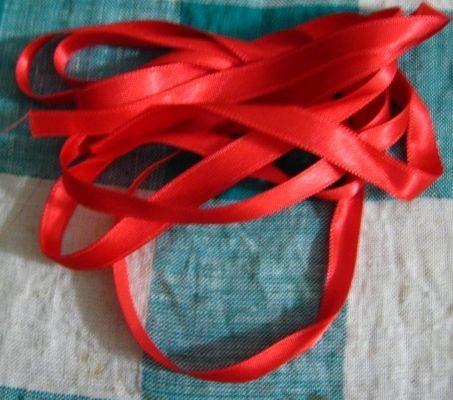лента атлас красный п/э 2 м 1 см ш
