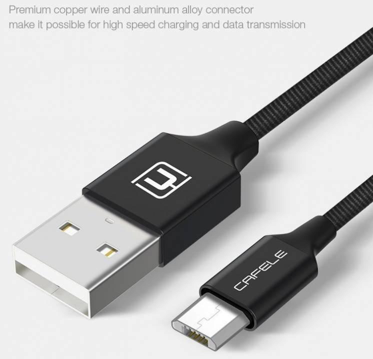 Кабель Cafele USB - microUSB, в оплетке, 1.8 м