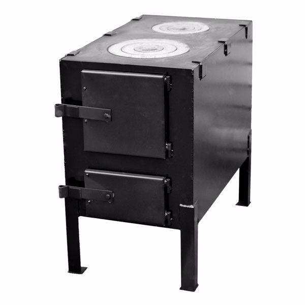 Отопительно-варочная печь КВД 150 с чугунной плитой на две конфорки