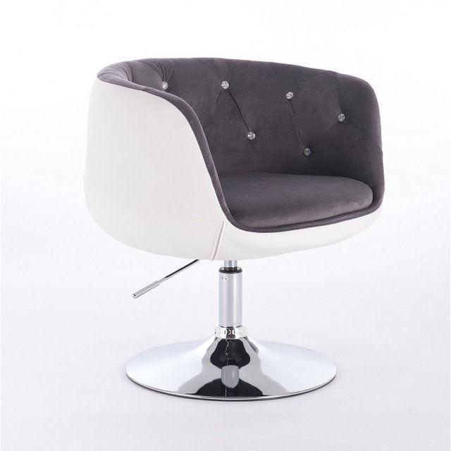 Парикмахерское кресло HC333N бело-серое велюр