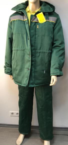 Костюм рабочий зеленый, курточка с полукомбинезоном