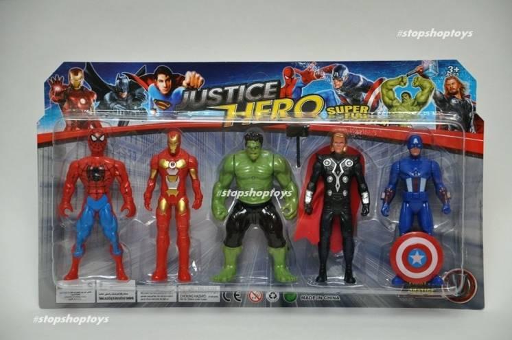 Набор 5 героев Marvel. Халк Железный человек Паук Тор Капитан Америка.