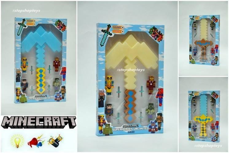 Minecraft алмазный меч кирка. Игровые наборы. Звуковые световые эффект