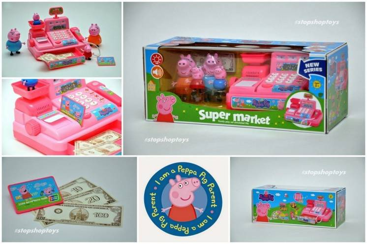 Супермаркет Свинка Пеппа Peppa Pig. Кассовый аппарат. Звук, свет. 4 св